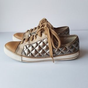 Tory Burch Caspe Quilted Metallic Sneakers